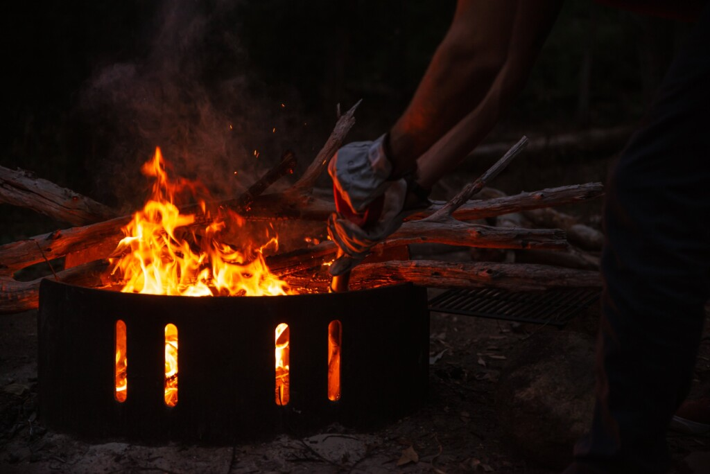 Starting fire in a fire pit
